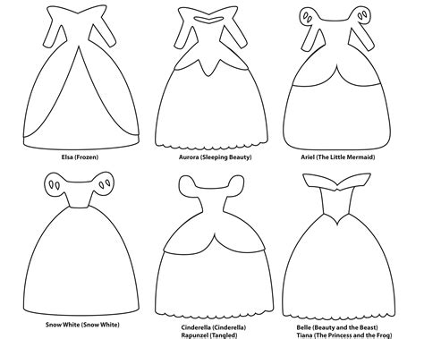 princess template disney princess dress paper templates bakery