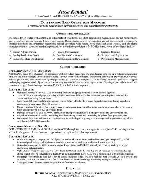 career objective for operations profile exle bank operations manager resume free sle