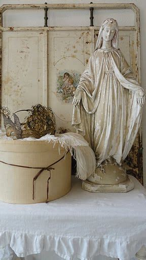 Shabby Chic Bed 5703 by White Religious Statue I Would To Add To