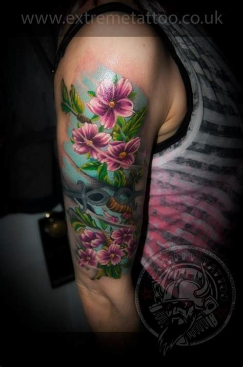 cherry blossom colour tattoo sleeve in progress gabi
