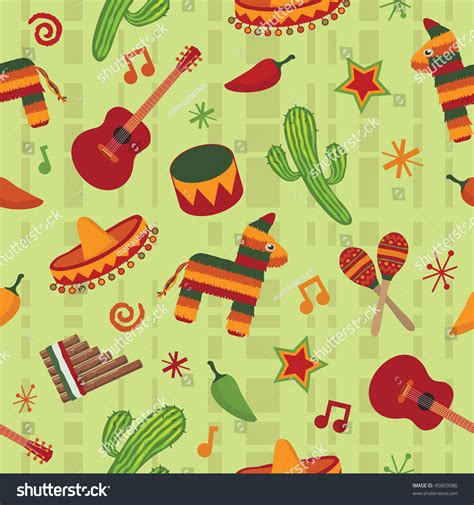 pattern party in spanish seamless mexican pattern wallpaper clipping mask stock