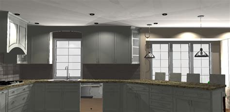 angle for rendering whit kitchen with 45 degree angle transitional rendering