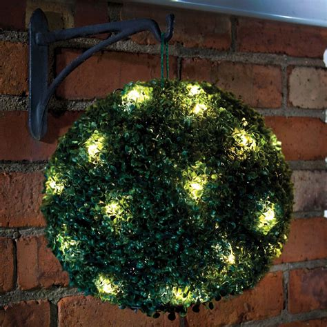 outdoor hanging ball lights 28cm solar powered led rose topiary ball hanging boxwood