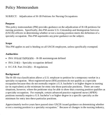 Change Policy Template by Policy Memo Templates 16 Free Word Pdf Documents
