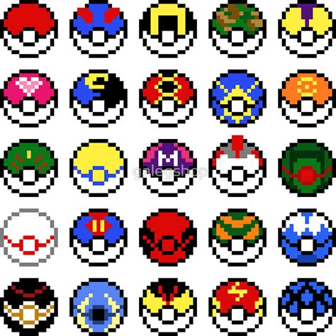 Home Decor Balls by Quot Pokeballs Pixel Art Quot Stickers By Galegshop Redbubble