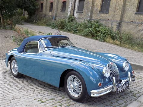 Jaguar Blue classic chrome jaguar xk150 3 4 roadster 1958 historic