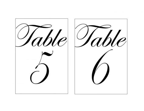 printable elegant numbers 4x6 quot black and white printable wedding or event table