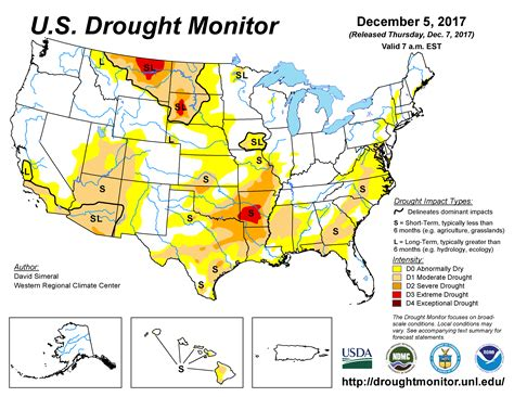 map us drought u s drought monitor update for december 5 2017
