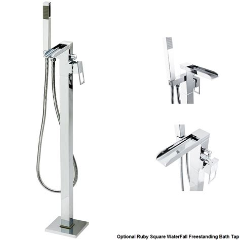 jupiter square waterfall freestanding bath tap with