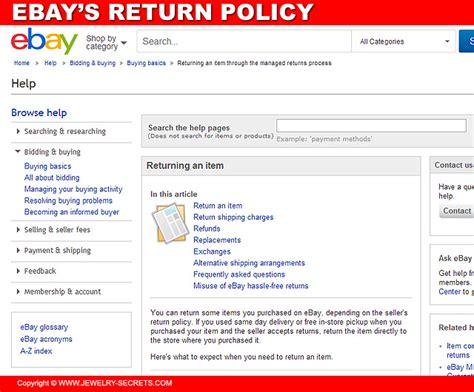 ebay return policy jewelry store s return policies jewelry secrets