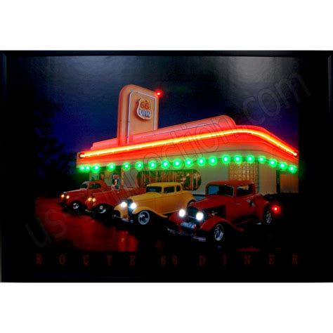 Lu Led Neon poster lumineux n 233 on et led route 66 diner 91 x 76 cm