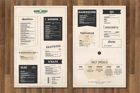 design menu resto the golf club menu design brandon tabor