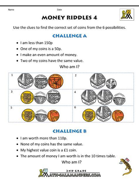 money worksheets  kids money riddles uk