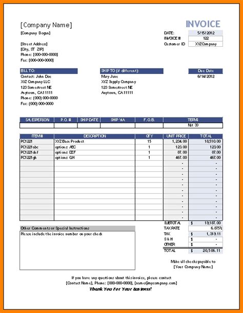 6 Editable Invoice Template Excel Dragon Fire Defense Editable Invoice Template