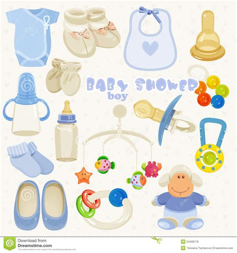 boy baby shower colors baby shower set in blue colors for boy stock vector