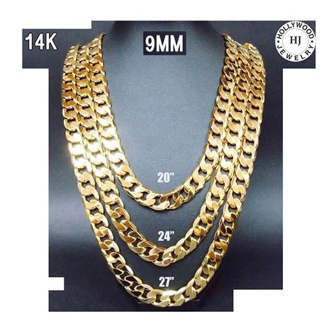 cadenas cubanas 14k 22 inch 14k gold chain cuban necklace men 9mm link w real