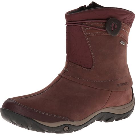 best waterproof boots merrell dewbrook zip waterproof winter boot bourbon