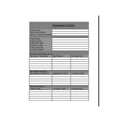 works templates statement of work template explanation of what to include