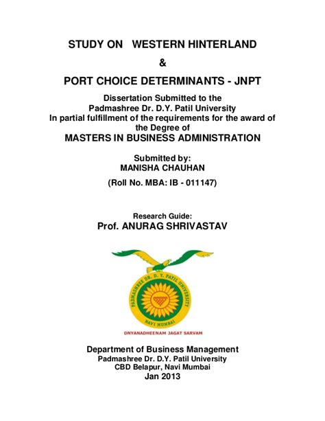 Western Mba Program Requirements by Port Choice Determinant Of Jnpt Executive Summary