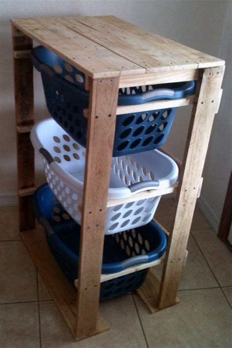 Laundry Room Table With Storage by Pallirondack Laundry Basket Dresser Made With Pallets