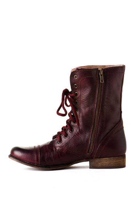 burgundy combat boots steve madden shoes troopa combat boot in burgundy s