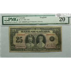 twenty five dollars 1935 twenty five dollars english bc 11 pmg vf 20