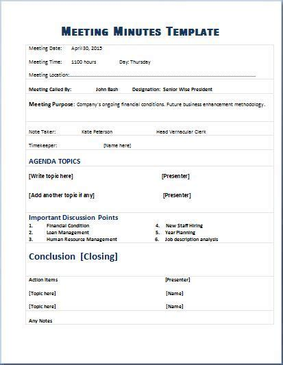 Resume Templates 15 Minutes by Formal Meeting Minutes Template Microsoft Templates In