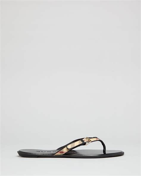 burberry sandals lyst burberry flip flop sandals parsons check in black