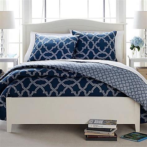 butter cotton geo trellis reversible comforter set in navy