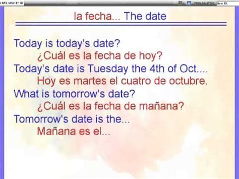 what is biography in spanish saying the date in spanish youtube