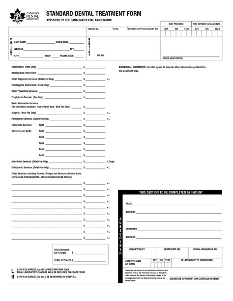treatment sheet template 17 best images of dental treatment planning worksheet