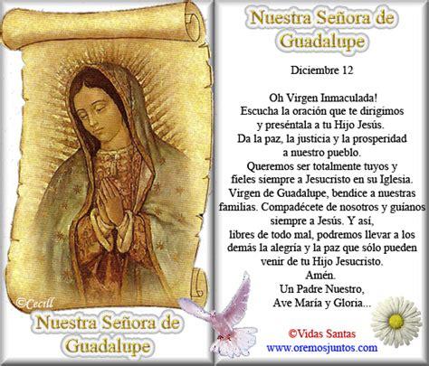 imagenes virgen de guadalupe con oracion vidas santas estita y oraci 243 n a nuestra se 241 ora de