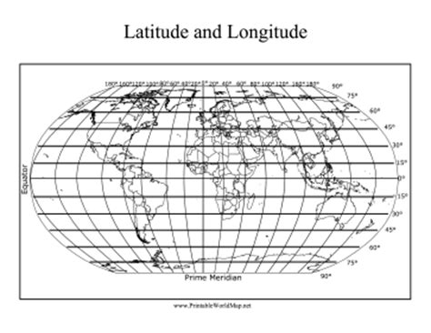 printable world map with lat and long longitude and latitude map