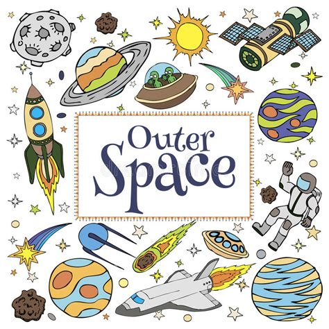 libro doodles in outer space outer space doodles symbols and design elements stock vector image 61499946