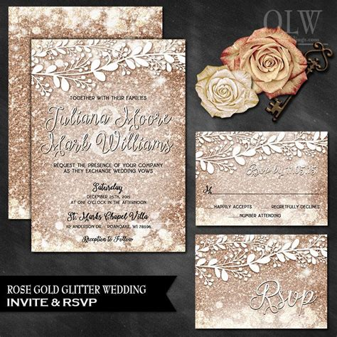 gold wedding invitation and response card sparkle