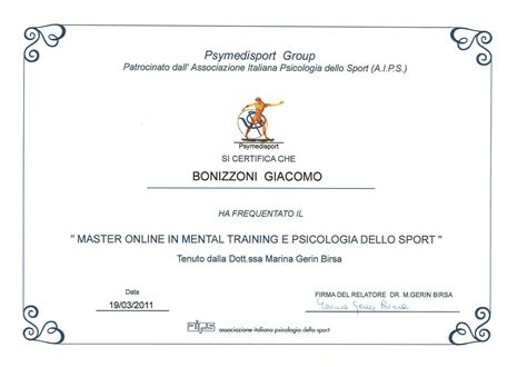 cornice attestato master on line in mental e psicologia dello sport