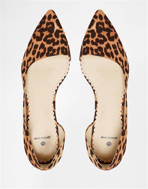 flat leopard shoes pieces vani black leopard flat shoes in brown lyst
