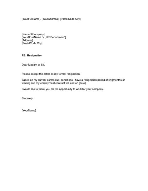 thank you letter to for the opportunity resignation letter format sle basic