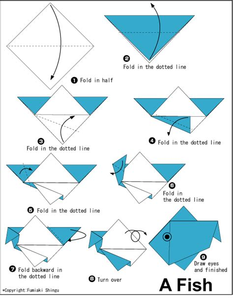 Paper Fish Origami - easy origami eagle for 1 summer c