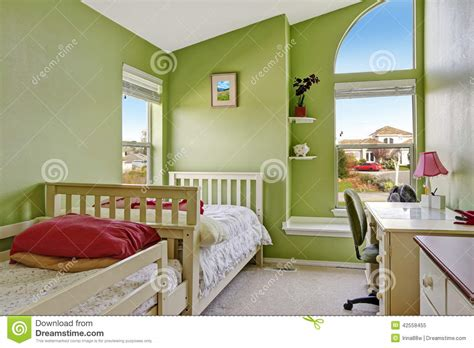 Happy Bedrooms by Happy Room In Bright Green Color Stock Photo Image