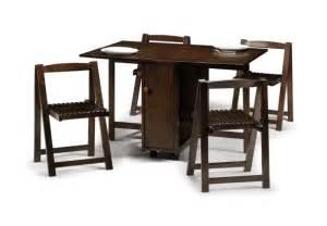 Jb crantock mahogany finish drop leaf dining table with hide away folding chairs ebay