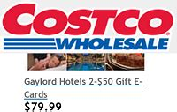 Gift Cards Sold At Costco - gaylord hotels gift cards 20 off at costco