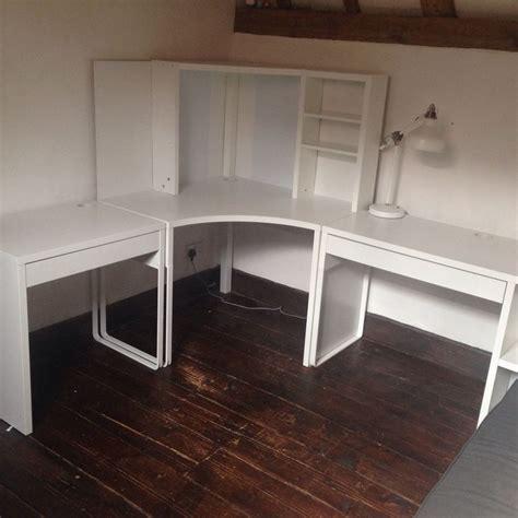 Ikea Micke Corner Station And Two Desks Office Study Micke Corner Desk