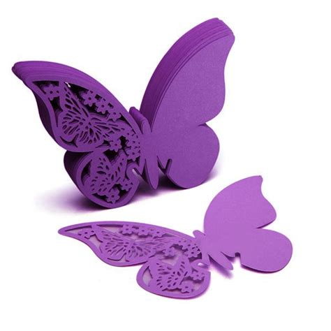 Butterfly Paper Place Card Lavender Isi 12 Pcs 50pcs butterfly place wine glass cup paper wedding