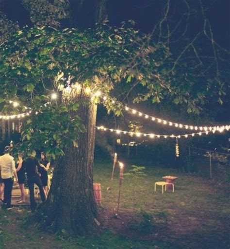 15 best ideas of hanging lights in outdoor trees