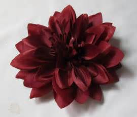4 5 inch burgundy red dahlia hair flower clip and pin brooch