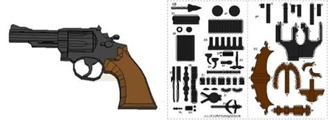 Papercraft Revolver - papermau smith wesson magnum 38 paper model by