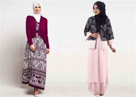 23 Model Gamis Batik 23 model gamis batik kombinasi blazer modern trendy 2017