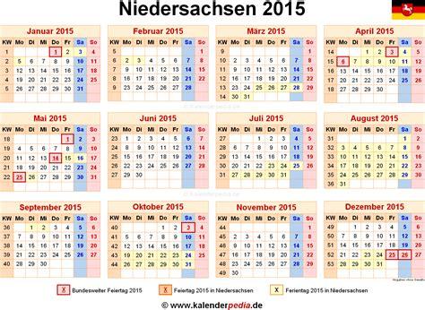 Kalender 2015 Feiertage Kalender 2015 Niedersachsen Ferien Feiertage Excel Vorlagen