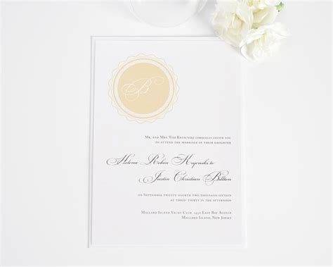 sheer initial wedding invitations monogram wedding invitations with initial in gold